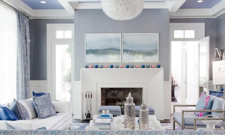 Голубые обои в интерьере восточной роскоши и классической вычурности
