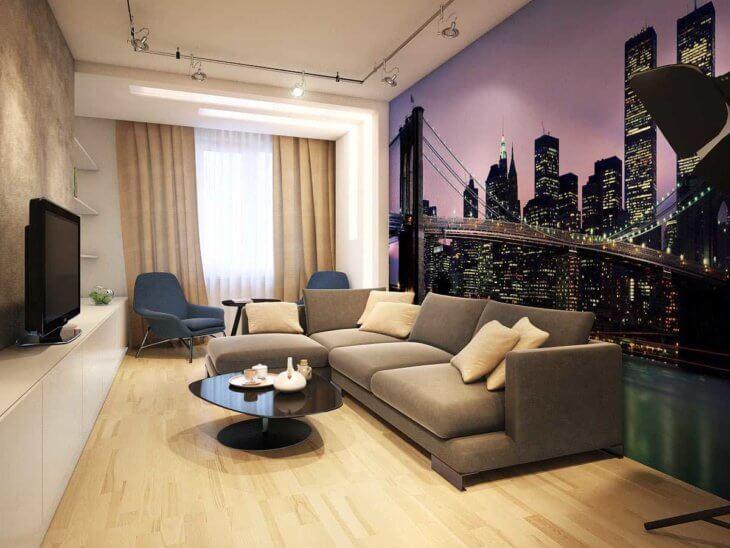 Комбинирование обоев в гостиной в зависимости от стиля и размеров комнаты