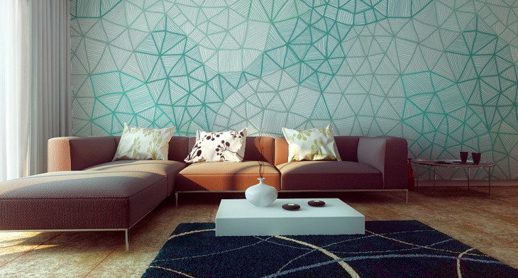 Обои с геометрическим рисунком в современном интерьере